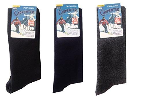 3 paia calze calzini uomo lunghi carpenter in pile - termiche tinta unita sci (nero, blu, grigio)
