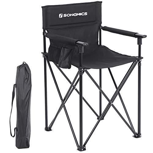 SONGMICS Campingstuhl, klappbarer Outdoor Stuhl, Regiestuhl mit hoher Sitzfläche, mit 3 Taschen, für Visagisten, Friseur, hoch belastbar, max. Belastbarkeit 150 kg (56,5 x 56,5 x 96 cm, Schwarz) - Schwarze Outdoor-klappstühle