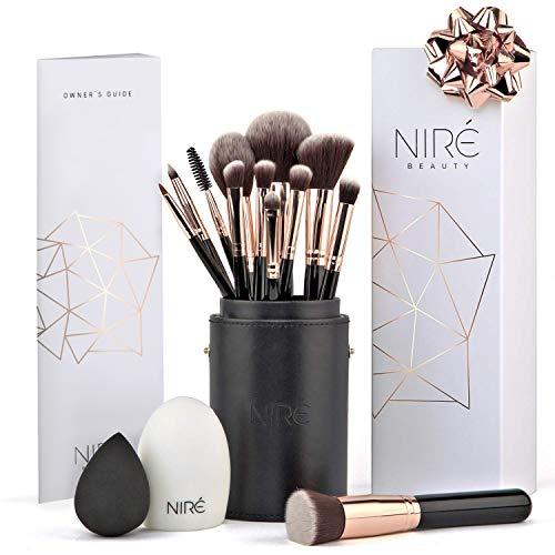 Niré Beauty Make-up- Pinselset Artistry: vegane Pinsel in einem stylischen Etui, mit Beauty Blender und Pinselreiniger