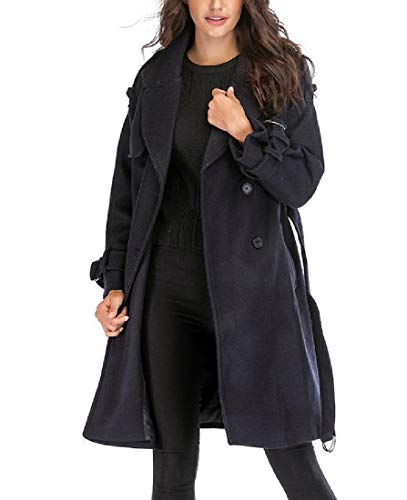 Belted Print Trench Coat (CuteRose Womens Belted Long Sleeve Fall Winter Button Trench Coat Jacket AS1 M)