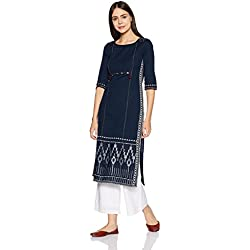 W for Woman Women's Straight Kurta (17AU16921-72610_Blue_16)
