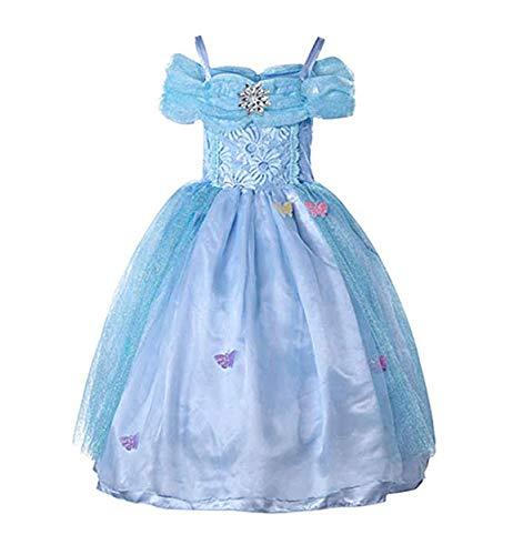 WAFA Cinderella Prinzessin Kleid Party Cosplay Kostüm Kind Mädchen Kleid mit Strass Schmetterlingen Geburtstag Party Kleid (130cm for 5-6 YS)