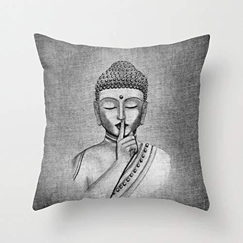 "Jullyelegant Funda de Almohada Linda Funda de cojín Funda de Almohada Cojín Funda de Almohada Sofá Oficina en casa Decorativa 18""x 18"" Estatua de Buda"