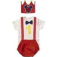 Conjunto primer cumpleaños 1 año niño (Body o Camiseta + Corona + Cubrepañal)
