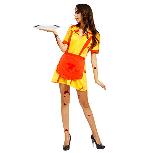 broke gils Kostuem Zombie Horror Hausmaechen Dienstmaechen Kleid (2 Broke Girls Halloween-kostüme)