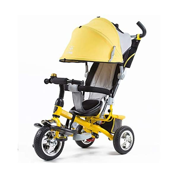 Tricycle Children's Trike with Sun Canopy and Removable Parent Handle Buggy Stroller Fit from 6 Months to 6 Years Boys and Girls Colour Choice,Yellow  4 IN 1 TRIKE: This is a growing with your child innovative kid trike, it follows with your baby's growing up and can be a baby bike, baby walker, or trike with parent pushing rod and canopy. Very Practical: Built with the sturdy aluminum alloy frame in superior strength, Non-slip handle with bell for best touch and added fun in riding, Anti-slip pedals make driving safer, foot brake, stop any time, back storage bin and front basket for storing child's essentials. A variety of safety features such as secure 3-point Y harness, extendable canopy, safety bar and non-slip pedals will all ensure a safe and worry-free ride for you both. 1
