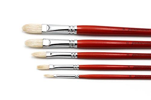 Paintersisters Ölmalpinsel aus Naturborste, 5er-Set in den Größen 0, 4, 8, 16 & 20