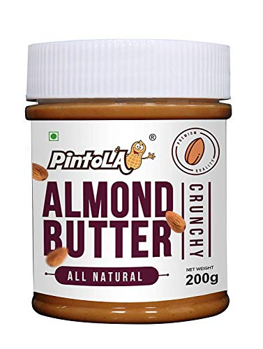 All Natural Roasted Almond Butter, Spread (Crunchy) 200gm (7.05 OZ) By Pintola