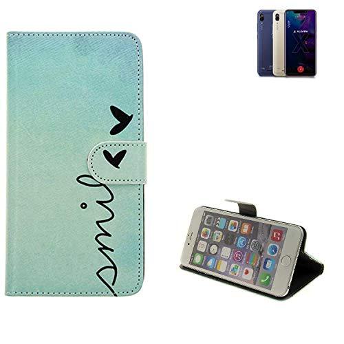 K-S-Trade Für Allview Soul X5 Style Hülle Wallet Case Schutzhülle Flip Cover Tasche bookstyle Etui Handyhülle ''Smile'' türkis Standfunktion Kameraschutz (1Stk)