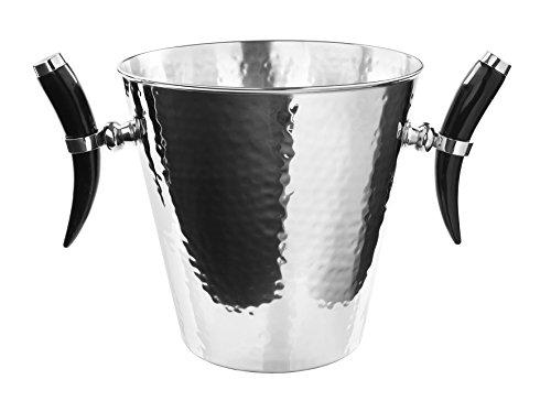 Fink - ST.BARTS Weinkühler mit Horn gehämmert - Edelstahl 32x24 cm Höhe 23 cm