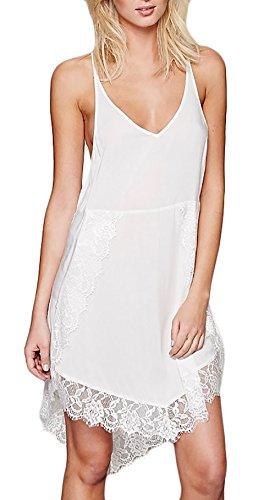 Trägerkleid Damen Kleider Elegant V-Ausschnitt Irregular Rückenausschnitt Slim Ärmellose Abendkleid Spitzenkleider Partykleider Weiß