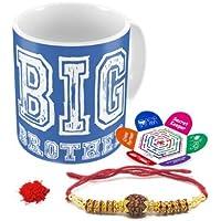 Indigifts Big Brother Quote Printed Mug 330 Ml, Crystal Rakhi , Roli, Chawal & Greeting Card Raksha Bandhan Gifts For Men/Boys