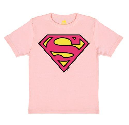 TRAKTOR - Camiseta para niña con el logotipo de Superman, diseño original DC Comics Rosa Pastel 140 / 152