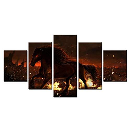 sybaozt HD Druck Auf Leinwand Gemälde Feuer Laufende Pferde Tiere Wandkunst Bilder Für Wohnzimmer Wohnkultur Modulare Kunstwerke