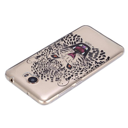 Ukayfe Custodia per Huawei Y5 II,Ultra Slim TPU Gel Gomma Silicone Copertura Case per Huawei Y5 II,Moda Serie Pattern Back Cover Crystal Skin Custodia Stilosa custodia di design Protettiva Shell Case  Testa di tigre