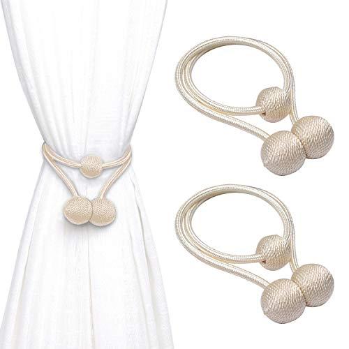 FEIGO Embrasses à Rideaux Magnétiques, 2 Pièces Clip Rideau de Boucle Aimanté en Tressage (Beige)