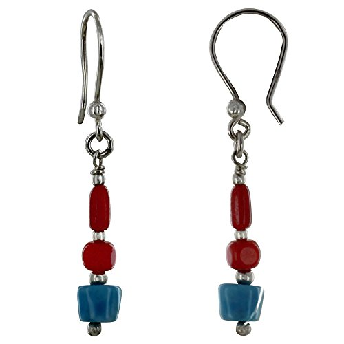 Schmuck Les Poulettes - Sterling Silber Ohrringe Rot Bambus Perlen und Larimar Nugget (Silber Bambus-ohrringe Sterling)