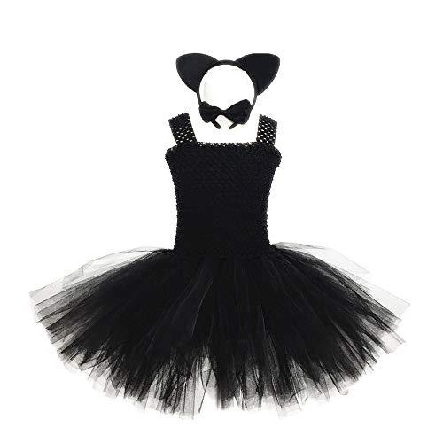 WANLN 2019 neueste Halloween kostüm für Kinder Schwarze Katze mädchen Halloween kostüme Stirnband Bogen Schwanz und Tutu Kleid 4 stück Set,Schwarz,M
