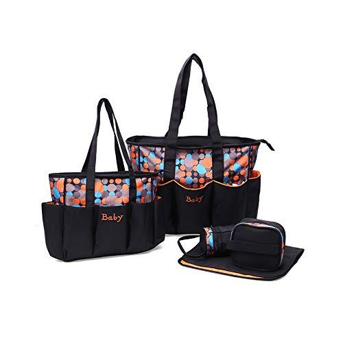 Baby Wickelrucksack Wickeltasche Multifunktional Große Kapazität Babytasche Reisetasche Mama Rucksack Wasserdicht (5-teiliges Set),Orange