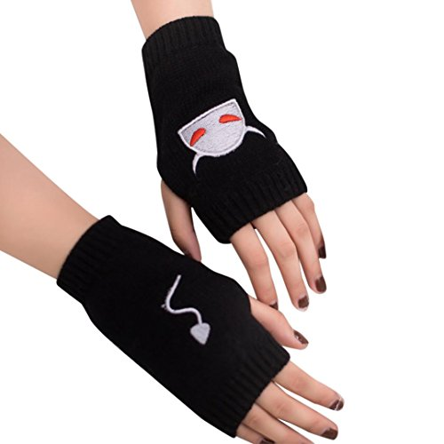 Ein-arm-laufwerk (Malloom® 2017 Frauen Mädchen Strick Arm Fingerlose Warm Winter Handschuhe Soft Warm Handschuh (schwarz))