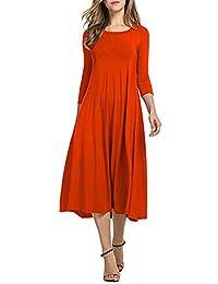 Faldas Largas Mujer Otoño, ❤️Zolimx Mujeres Casual Media Manga Vestido Suelto Señoras Noche Vestidos Maxi de Fiesta Mujer Tallas Grandes