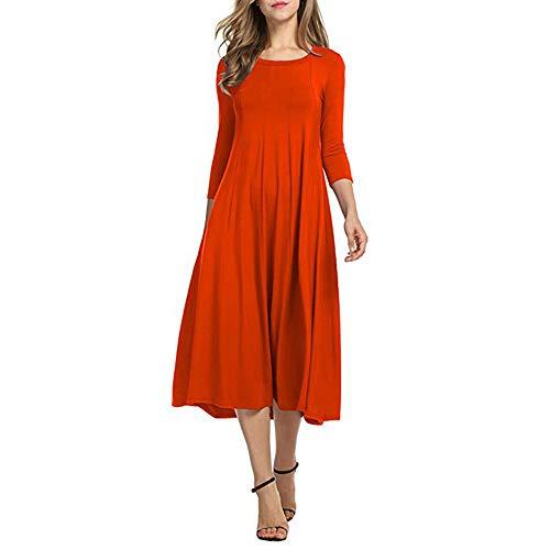 Xmiral Damen Kleid Herbst Halbe Hülse O Ansatz Lose Strand Beiläufiger Rock Damen Elegante Abend Lange Kleider ()