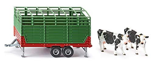 SIKU 2875, Viehanhänger inkl. 2 Holstein-Kühen, 1:32, Metall/Kunststoff, Grün, Kombinierbar mit SIKU Modellen im gleichen Maßstab