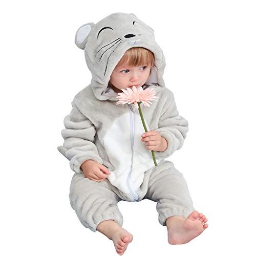 Kostüm Ratte Kind - Baby Overall Strampler Pyjama Onesie Kostüm Unisex Jumpsuit mit Kapuze Flanell Strampelanzug Spielanzug Langarm Cartoon Romper für Baby Neugeborenen Mädchen Jungen Herbst Winter Frühling (Ratte, 90)