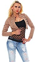 Bolero Kurzjacke Blazer Jäckchen Jacke Army-Look 8 Farben Größe 34-36