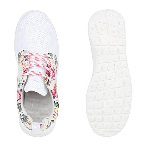 Damen Sportschuhe Muster  Laufschuhe Runners   Sneakers Schuhe Strass Metallic Weiss Blumen