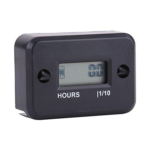 Digitaler LCD-Stundenzähler, wasserdichter Induktions-Digitalstundenzähler für Motorräder alle Benzinmotoren (schwarz) Marine-lcd