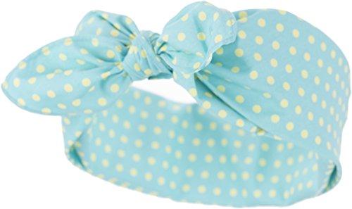 Küstenluder Damen Haarband Bobbye Punkte Bandana Mintgrün mit gelben Dots 53cm x 53cm