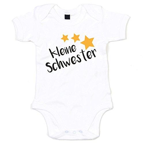 Baby Body - Kleine Schwester - Sterne - von SHIRT DEPARTMENT, weiss-schwarz, 50-62