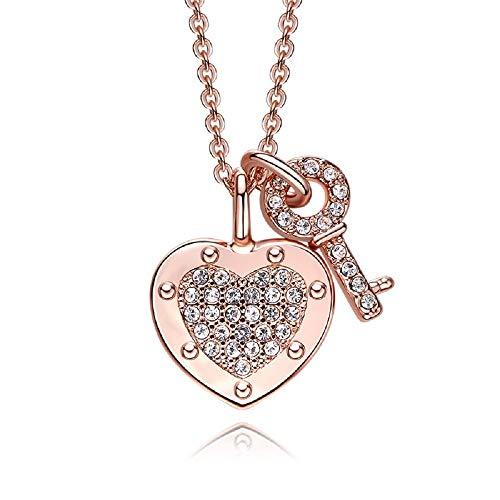 Wff collana da donna europea ed americana, collana in argento sterling 925, catenella con catena chiave, collana con chiusura a cuore personalizzata,oro rosa,centimetro