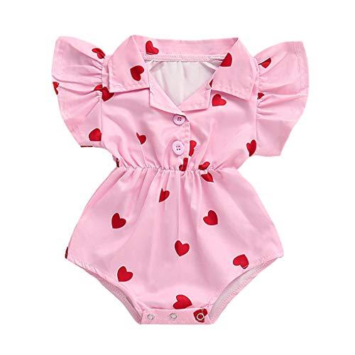 MäDchen Kurze BedruckteSommer RüSchen Kurze ÄRmel Strampler-Body Süß Overall Kleidung Ausstatten Strampler(Rosa,6-12 Monate) ()