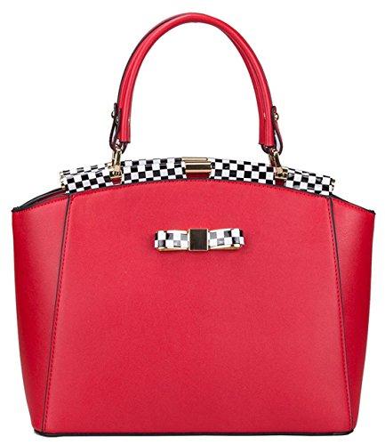 Kukubird Aria Semi Ecopelle Quadretti Trim E Bow Tote Handbag Red