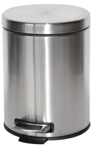 Mondex INX120-00 Poubelle à pédale INOX 5 litres pour la Salle de Bain, Chromé