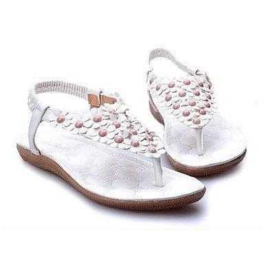 SANMULYH Scarpe Donna Pu Comfort Estivo Sandali Punta Tonda Per Casual Rosa Bianco Bianco
