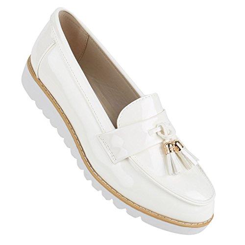 Damen Lack Slipper Loafers Metallic Quasten Schuhe Profilsohle Weiss Gold