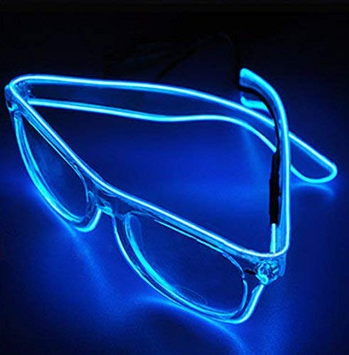 Dngdom LED-Licht bis Fashion Gläser beleuchtet LED Neon Brillen für Parteien, Kostüm, Ball, Disco Clubs, Halloween, Geburtstage, Festivals (blau)