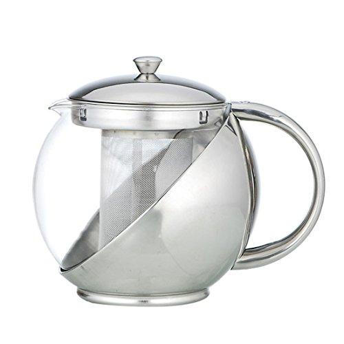 beautylife66 Théière avec Infuseur Services à Thé et à Café Acier Inoxydable Teapot 750ml