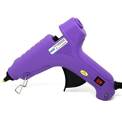 Pistolet à Colle Chaude 60W 11mm Buse en laiton avec le caoutchouc de silicone - Idéal pour l'artisanat, les écoles, le bureau et la décoration générale, Les btons de colle ne sont pas inclus - Violet
