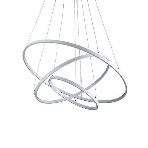 Henley LED Pendelleuchte Modern Beleuchtung Hängelampe Höhenverstellbar Lampe Kreative Design Drei Ring Deckenleuchte 75W Pendellampe für Wohnzimmer Küche Weiß Acryl Leuchte Esstisch Kronleuchte , Dimmbar (75w Dimmbar Licht Ring)