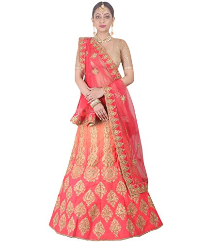 Indian Ethnicwear Bollywood Pakistani Wedding Shaded Pink A-Line Lehenga Semi-stitched