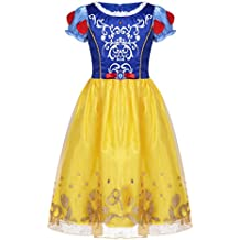 iiniim Vestido de Princesa Niña Puff Sleeve Traje de Fairy Tale Bordado de Satén Organza Disfraces