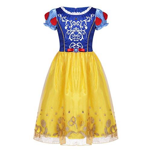 Tiaobug Mädchen Prinzessin Kostüm Kleider Rapunzel Märchen Cosplay Glanz Kleid Kurzarm gestreift mit Druck Verkleidung Outfits Halloween Party Festzug gr. 92-134 Gelb 140
