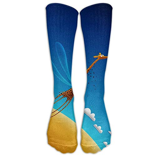Benutzerdefinierte lustige Strümpfe Giraffe Kaninchen Liebe Ourdoor Boot Mädchen Jungen Knie lange Socken Reisen atmungsaktiv - Knie-boot-liner-socke