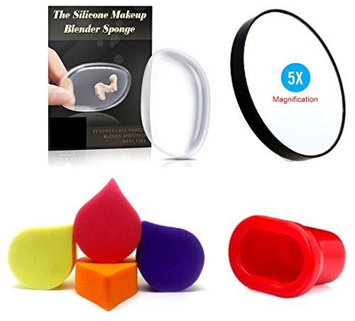 Kelley Pure Silicone Makeup Jelly Liquid Foundation Applicator With Pack Of 4 Imported Make Up Blending Cosmetic Powder Sponge Puff 5x Magnification Makeup Mirror With Suction Cups And Super Sexy Lips Fuller Plumper Natural Enhancer Device (Set of 7)