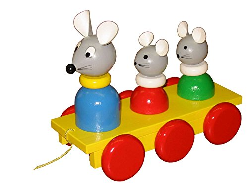 ABA Pull-Along Three Mice Cart with Motion (Coloured)