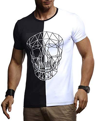 LEIF NELSON Herren Sommer T-Shirt Rundhals-Ausschnitt Slim Fit Baumwolle-Anteil | Basic Männer Totenkopf T-Shirt Crew Neck Hoodie-Sweatshirt Kurzarm lang | LN4670 Schwarz-Weiß Medium -